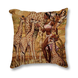 African Impression Sofa Throw Pillow Cover Cotton Linen Decorative Cushion Cover