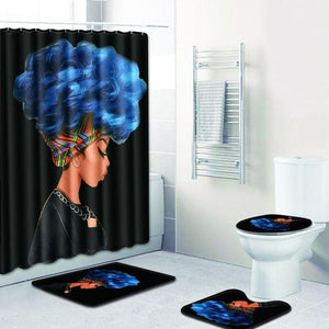 Afro Woman Shower Curtain Set (4 Varieties)