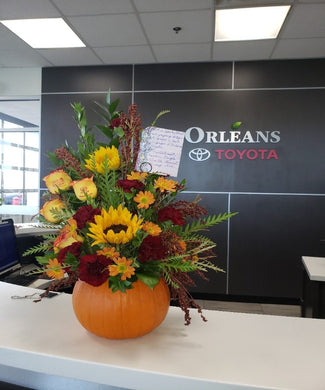 Thanksgiving Pumpkin arrangement Flower Arrangements, Flower, Florist, Print-a-Bunch Ottawa - Orleans Florist, Great for a Birthday and Anniversary