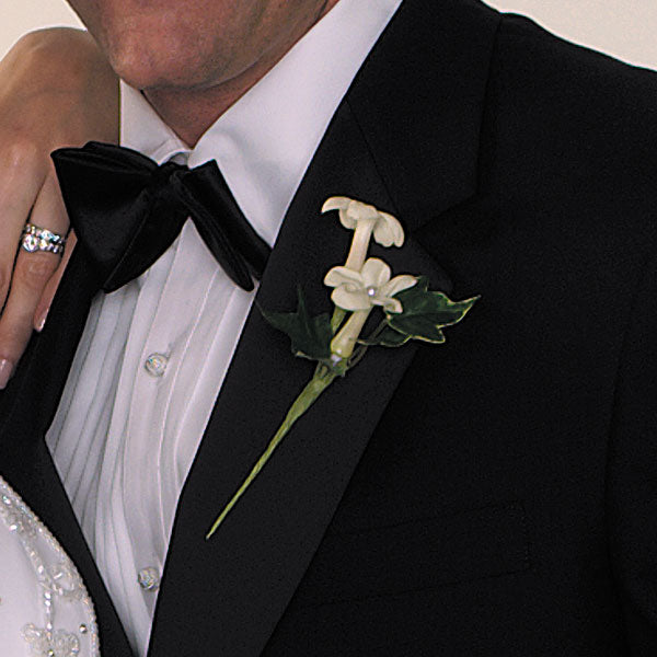 Pearl-Studded Stephanotis Boutonniere - $50 Flower Arrangements, Flower, Florist, Print-a-Bunch Ottawa Florist,