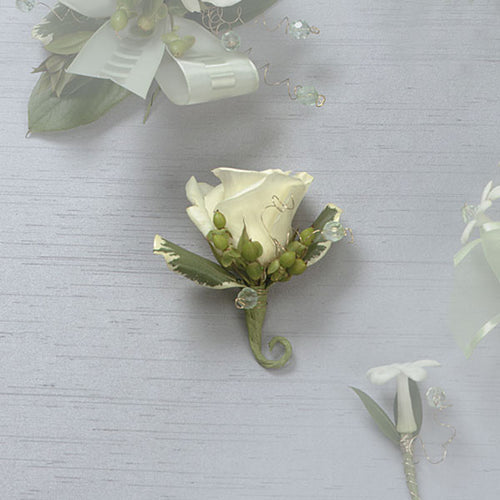 White Rose Boutonniere - $19.99 Flower Arrangements, Flower, Florist, Print-a-Bunch Ottawa Florist,