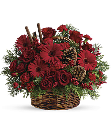 The scents of the season! Christmas greens, bold red flowers and cinnamon sticks make this a fragrant floral arrangement for Christmas gatherings. A handled basket of red flowers including roses, red gerbera daisies and carnations is topped with festive cinnamon sticks.