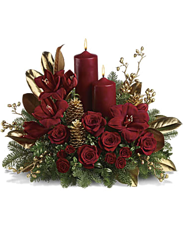 candle christmas arrangement - Ottawa florists offers delivery