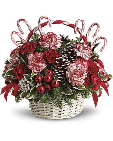 Candy Cane Christmas Flower Arrangements, Flower, Florist, Print-a-Bunch Ottawa - Orleans Florist, Great for a Birthday and Anniversary