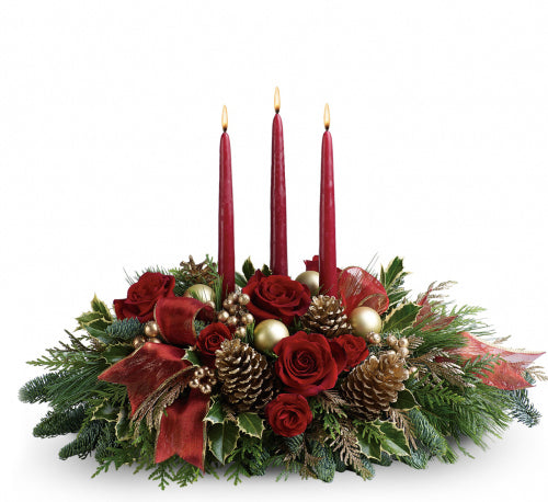 Christmas holiday cheers with this candle arrangement as your table centerpiece. Ottawa florists delivers