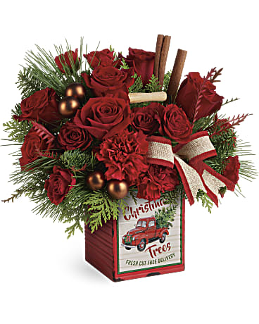 Merry Vintage Christmas Bouquet Flower Arrangements, Flower, Florist, Print-a-Bunch Ottawa - Orleans Florist, Great for a Birthday and Anniversary