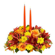 Load image into Gallery viewer, Thanksgiving candle centerpiece flowers - From $89.00 will brighten your table with all the fall colours.  Orleans florist delivers to Rockland - Orleans - Ottawa - Kanata and Gatineau.  613-824-1700