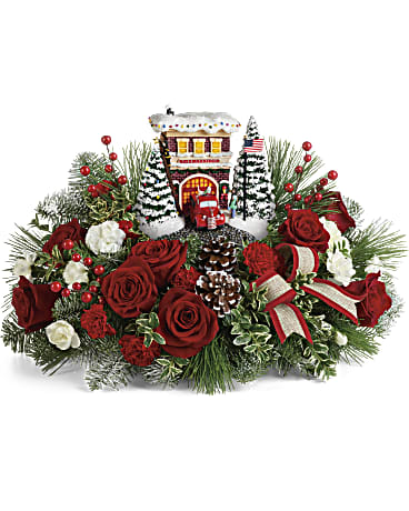 Thomas Kinkade's Festive Fire Station Bouquet - From $99.99 Flower Arrangements, Flower, Florist, Print-a-Bunch Ottawa - Orleans Florist, Great for a Birthday and Anniversary