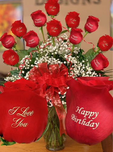Valentine's Day Dozen roses Double Print Flower Arrangements, Flower, Florist, Print-a-Bunch Ottawa - Orleans Florist, Great for a Birthday and Anniversary