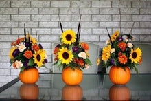 Load image into Gallery viewer, Pumpkin Thanks Giving Arrangement - From $35 Flower Arrangements, Flower, Florist, Print-a-Bunch Ottawa - Orleans Florist, Great for a Birthday and Anniversary
