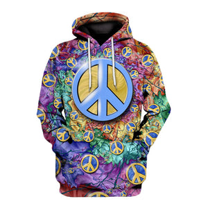 Blue hippie symbol of  peace All over print