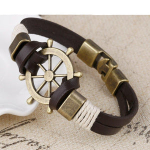 Wholesale Cuff braided Wrap Bracelet & Bangles Men Jewelry Pirate Genuine Leather Anchor Bracelets Vintage Men's Jewelry
