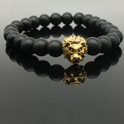 Fashion Lion Head Bracelet Buddha beads Bracelets Bangles Charm Natural Stone Bracelet For Men Women Bead Jewelry