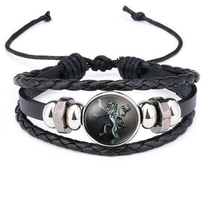 New Ethnic Brown Retro Leather Bracelets for Men Women Game of Thrones Multiple Layers Badge Charms Men Bangles Fashion