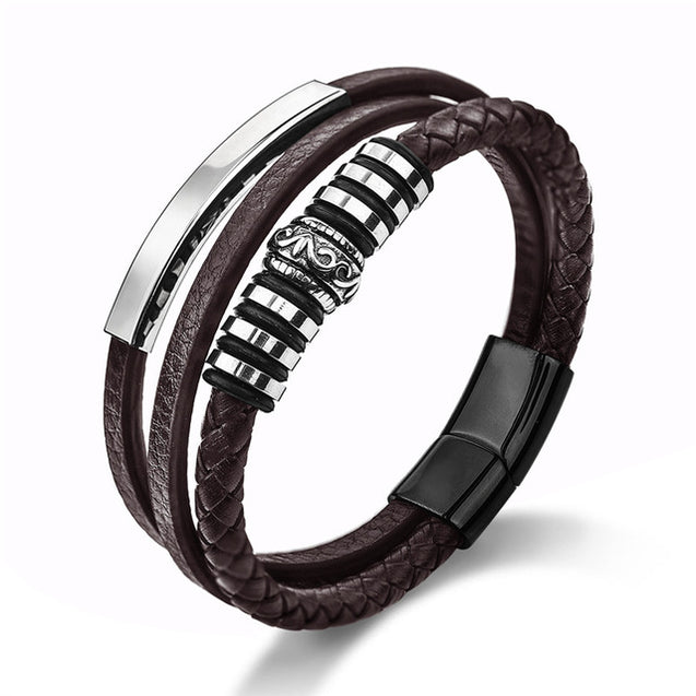Fashion Leather Bracelet for Men Black Braid Multilayer Rope Chain Stainless Steel Magnetic Clasp Male Jewelry Gifts