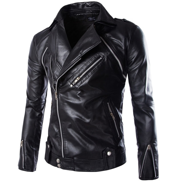 Men's Slim oblique zipper Slim leather jackets Motorcycle jackets New fashion Male Hip-hop style Street wear Leather & Suede