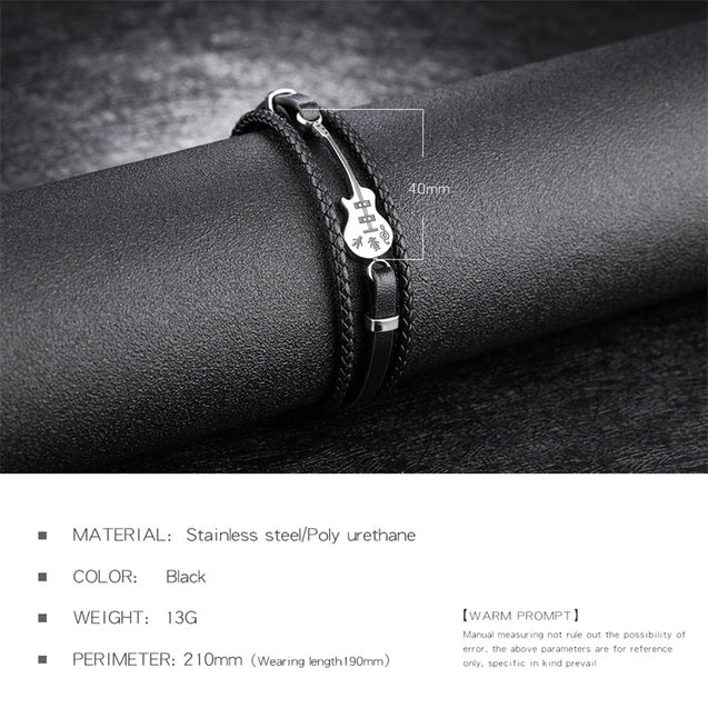Unique Stainless Steel Guitar Bracelets Customized Logo Leather Bracelet  for Men Rope Bangle Drop shipping