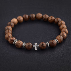 Hot Men Natural Wood Beads Cross Bracelets Onyx Meditation Prayer Bead Bracelet Women Wooden Yoga Jewelry ABJ003