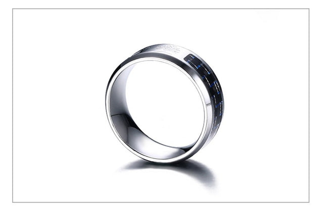8mm Personalize Carbon Fiber Ring For Man Engraved Tree Of Life Stainless Steel Male Alliance Casual Customize Jewelry Band