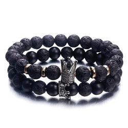 Hot Trendy Lava Stone Pave CZ Imperial Crown And Helmet Charm Bracelet For Men Or Women Bracelet Jewelry Pulseira hombres