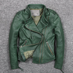 Women's slim fit fashionable genuine leather jacket green stand collar short moto biker leather jacket women sheepskin coat