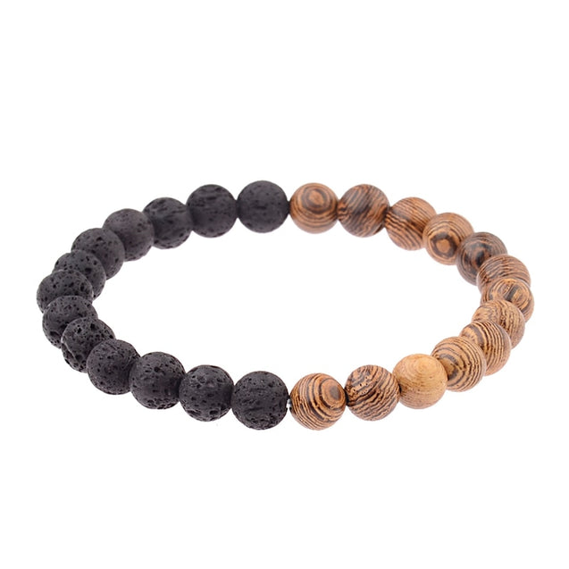 8mm New Natural Wood Beads Bracelets Men Black Ethinc Meditation White Bracelet Women Prayer Jewelry Yoga ABJ005