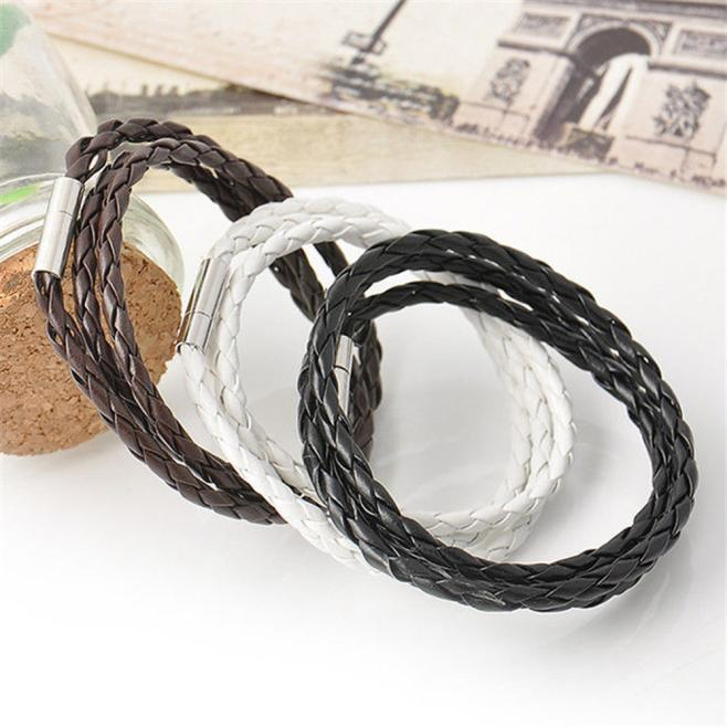 7d03770c2d49 ... New Men Fashion Leather Bracelets Wristband Charm Bangle Handmade Round  Rope Jewelry Accessories Wristlet Trinket Bracelets ...