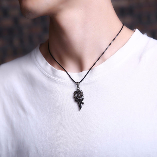2018 Men's Punk Dragon Flame Titanium Stainless Steel Cool leather chain Pendant Necklace Men's necklace wholesale
