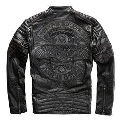 HARLEY DAMSON  Black Men Skull Embroidery Biker's Leather Jacket Plus Size XXXXL Genuine Thick Cowhide Russian Leather Coat