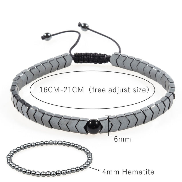 Men's Set Hematite Bracelets European Weaving Mens Brading Macrame Bangle Punk Hiphop Cool Men Jewelry Gift