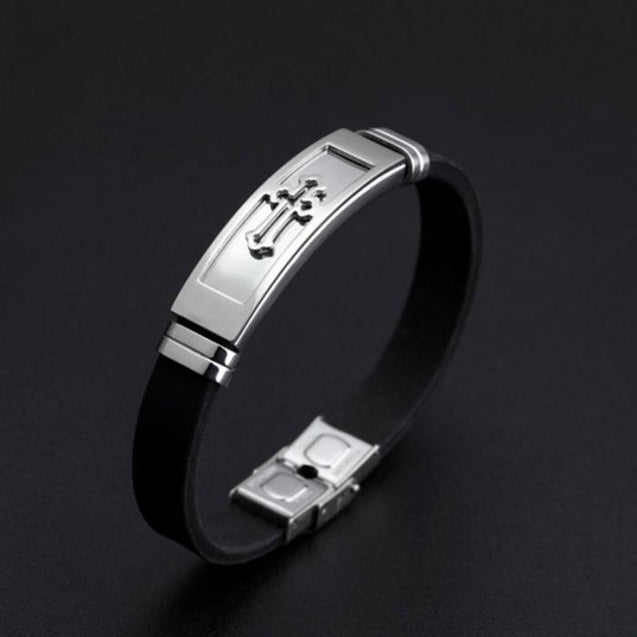 Men Silicone Titanium Steel Cross Bracelet Wristband Masculine Jewelry  TT@88