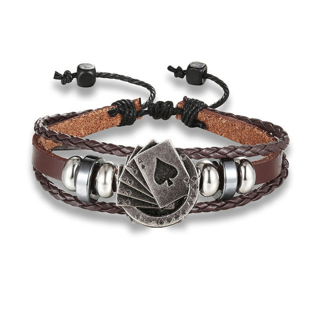 New Fashion Scorpions Bracelets Men Charm Rope leather Bracelet Bizhuteriya Eye Anchor Wrap Metal Hooks women's Bracelet Bangles