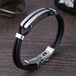 2018 New Bracelet Men Fashion Cuff Leather Bracelet Stainless Steel Charm Bracelet For Men Jewelry Gift