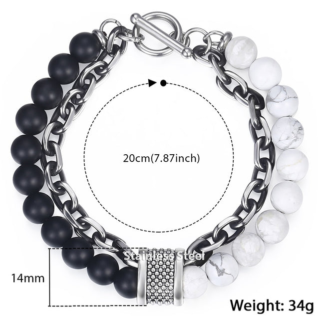 Natural Map Stone Men's Beaded Bracelet for women Stainless Steel Bracelets Male Jewelry Tiger eye 8 9 10 inch DB33