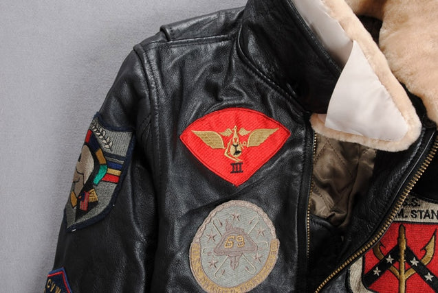 2019 air force Flight Jackets Motorcycle Genuine Leather Jacket Women Cow Leather Coat Fur Collar Bomber Jacket