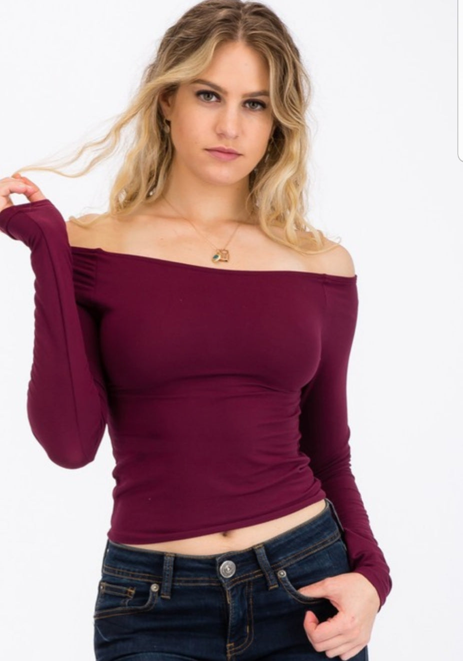 Basic Off Shoulder Long Sleeve Top