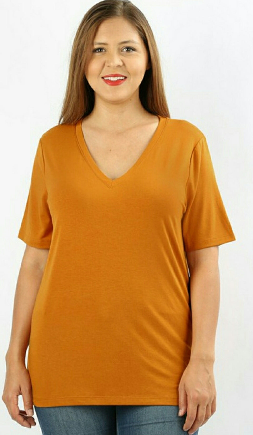 Basic Plus Size V-Neck Shirt