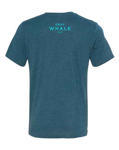 Gray Whale Tee |  Steel Blue + Aqua