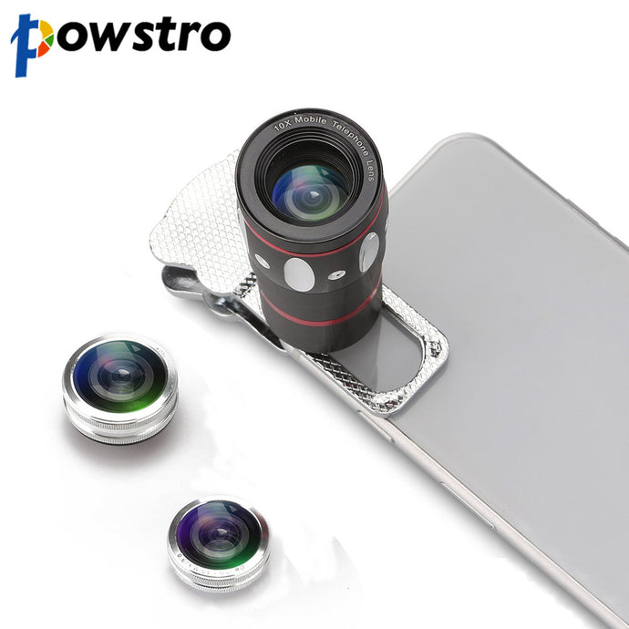 Powstro 10x Zoom Lens Kit, Wide Angle, Clip on For iPhone 6S 6 Samsung HTC