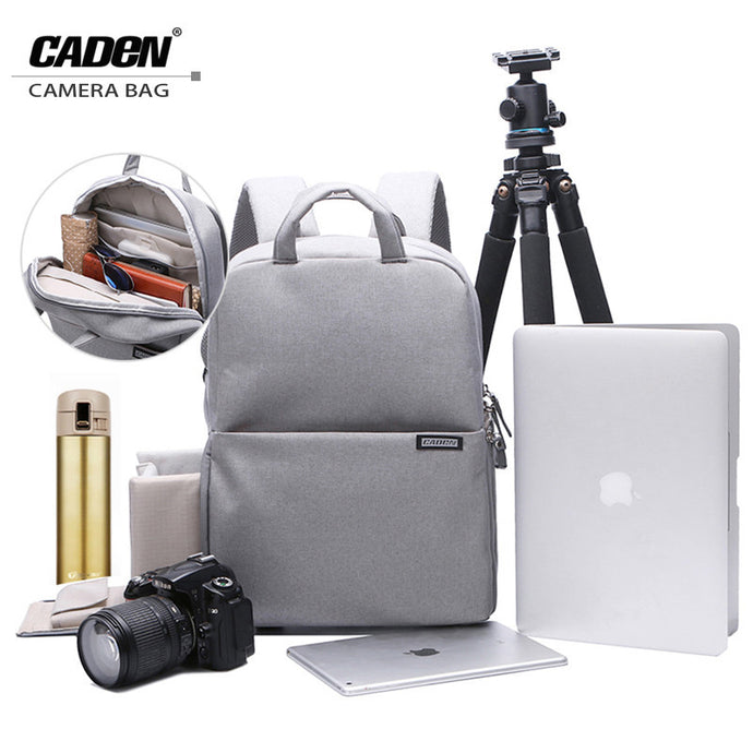 CADEN Backpacks, Camera Bags, Soft Shoulders, Slivery Blue, Red Bag, Men Women, Digital Camera Backpack For Canon Nikon L5