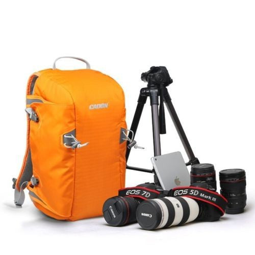 Caden E5 Travel Backpack Case, Orange, for Camera DSLR Tripod Photo SLR, Shoulder Leisure Bag, Rain Cover Bag
