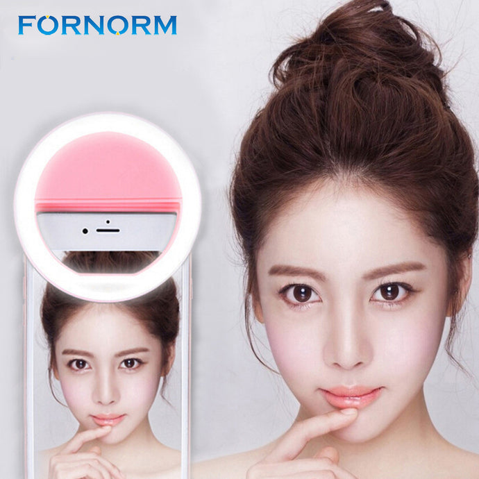 FORNORM Flash Photography Ring, Selfie, LED, 36pcs LED, 3 Brightness Levels, Clip-on for all Mobile Phones