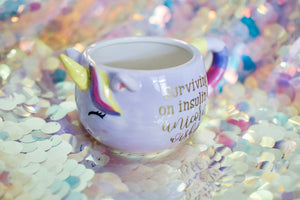 Mug :: Surviving on Insulin & unicorn wishes :: Multiple Colors