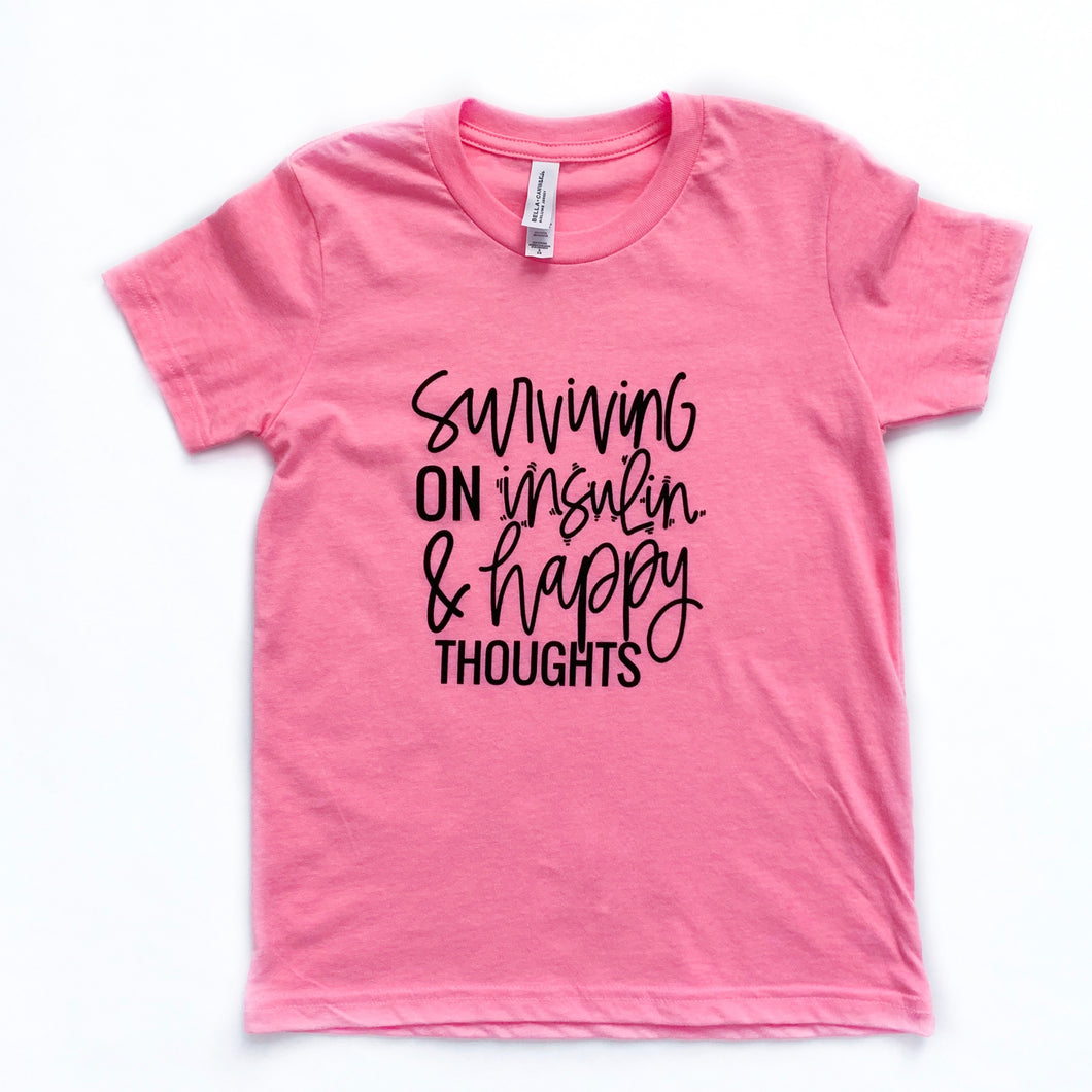 Ready to Ship :: Surviving on Insulin & Happy Thoughts :: Kids Tee :: Neon Pink