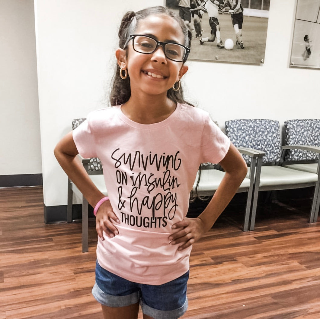 Ready to Ship :: Surviving on Insulin & Happy Thoughts :: Kids Tee