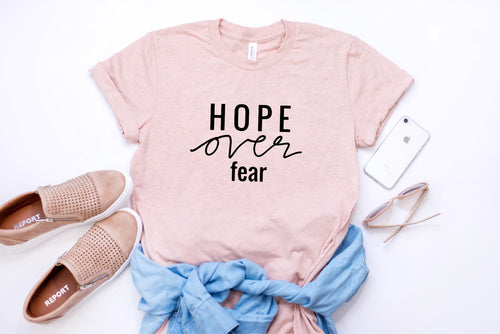 Ready to Ship: Hope over Fear t-shirt - Peach