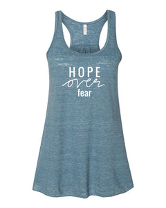 Ready to Ship : Hope over Fear : Blue Tank