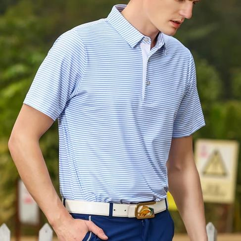 Reef | Coral-Blue Stripe Polo