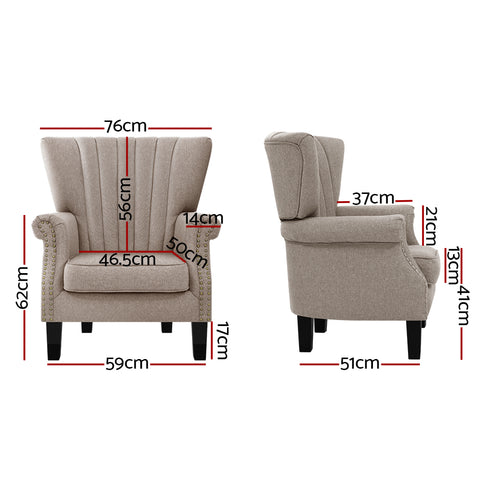 Simple deals Artiss Armchair Lounge Chair Accent Chairs Armchairs Fabric Single Sofa Beige
