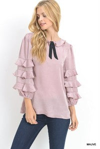 Three quarter sateen bubble sleeve top